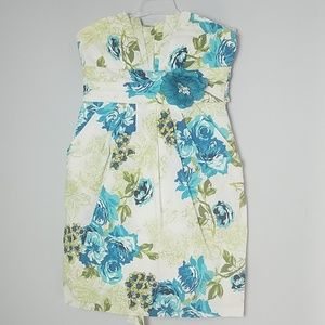 Ruby Rox Floral Pleated Strapless Dress - Size 3